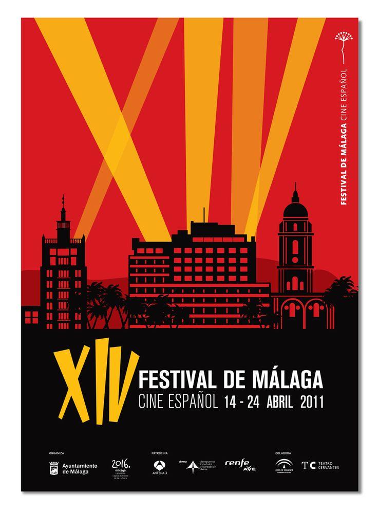 Cartel 14 Festival Cine Málaga - Propuesta | Domestika