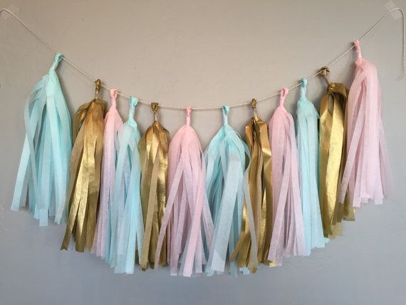 Our gorgeous gender reveal garland adds so much to a gender reveal party!! Or you can choose 6 tassels to be added to a large balloon!  Garland