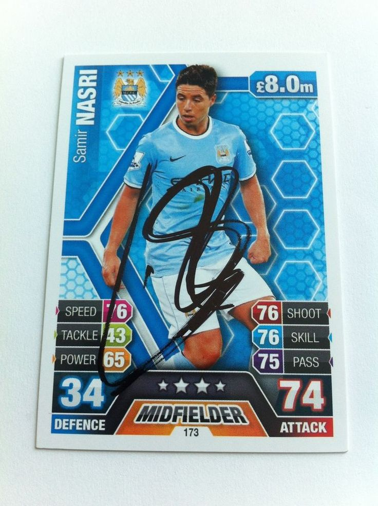 Samir Nasri Manchester City Footballer Signed Trading Card