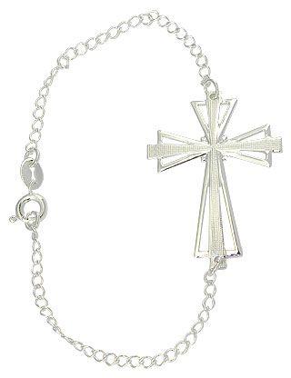Pulseira folheada a prata contendo uma cruz deitada de chapa. R$ 6,45  (unid.: pç)