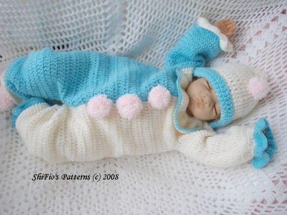 Baby Crochet Pattern Clown Suit, Hat and Slippers Crochet Pattern DIGITAL DOWNLOAD 57. $3.99, via Etsy.