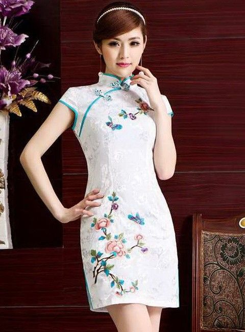 Elegant Silk Flower & Butterfly Embroidery Traditional Bodycon Chinese Qipao Dress - iDreamMart.com