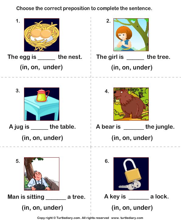 Complete The Sentences Using In On And Under 1st Grade