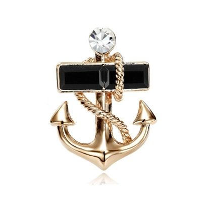 High-grade diamond anchor brooch corsage men's fashion accessories personality Navy men and women suits Lapel badge spot #Affiliate