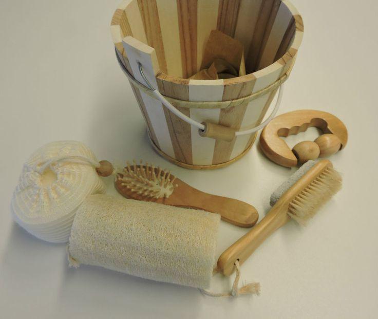 5 tlg. Wellness Set Sauna Dusche  Bad  Pflege Massage Schwamm Bürste Holz