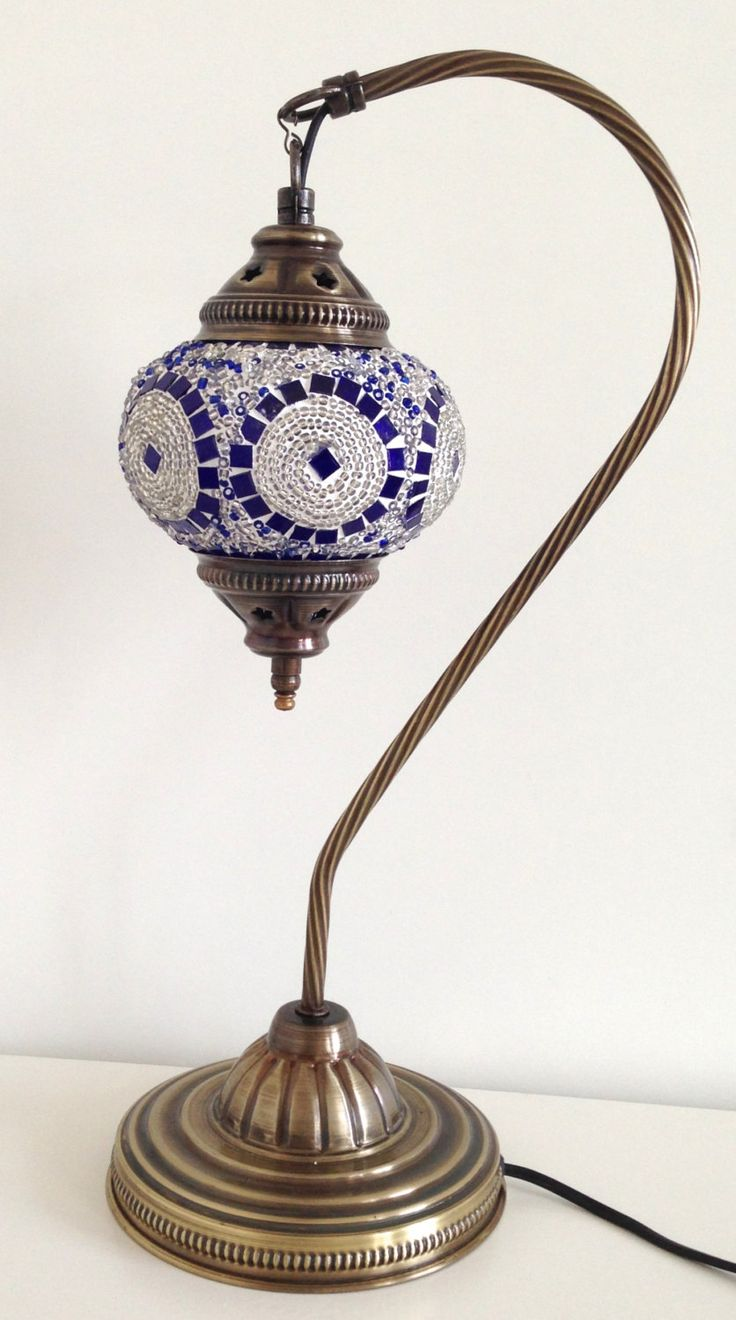 Turkish Table Lamp: Silver & Blue Lamp with vintage style Swan neck metal base, Table lamp, Turkish  lamp, Bedside lamp, Desk lamp, Romantic lamp, Ethnic lamps,Lighting