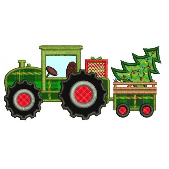 Christmas Tractor with Christmas Tree Applique Machine Embroidery Digitized Design Pattern