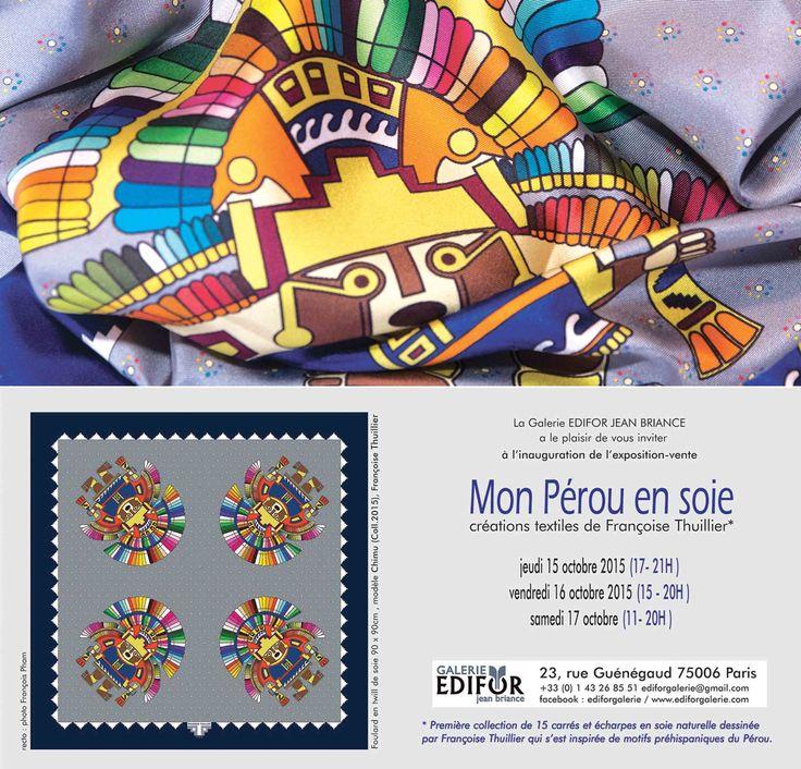 Ma première collection de foulards en soie avec des motifs préhispaniques du Pérou