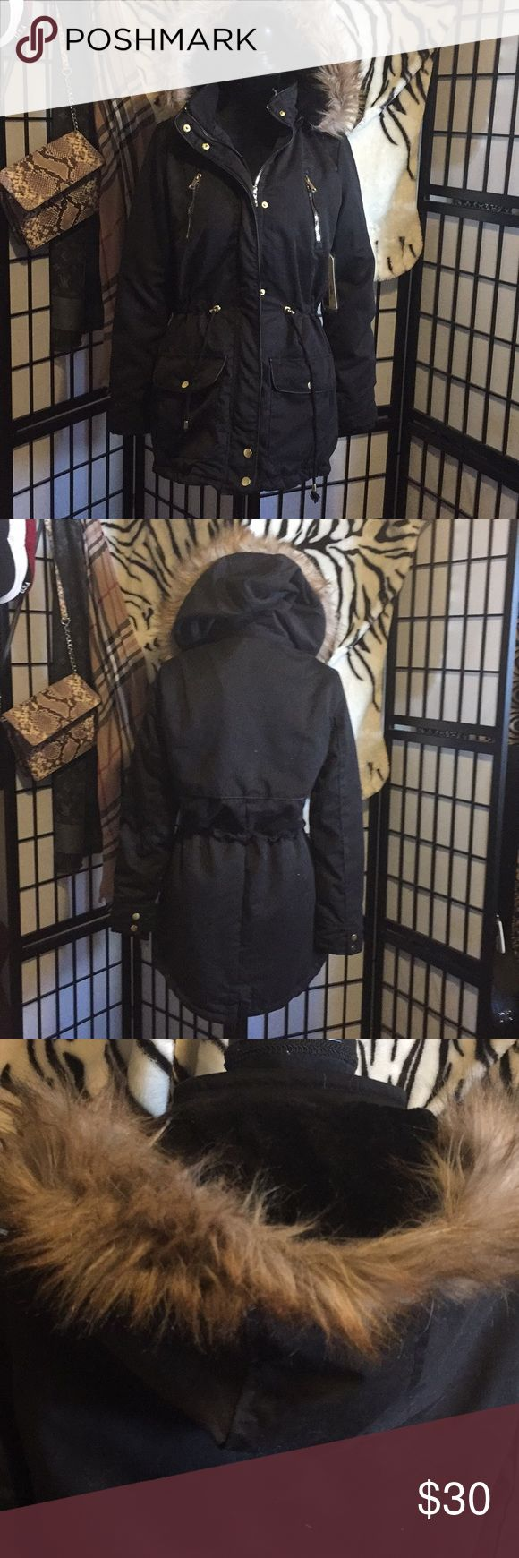 Amazing black fur hooded parka Brand new with tags black parka! This parka is perfect to keep you warm in any weather it has a fur lined hood and multiple pockets! The waste is adjustable with the drawstring and is the long style! Size medium royalty for me Jackets & Coats Trench Coats