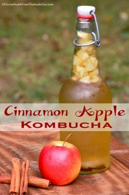 Cinnamon Apple Kombucha | For each 12 or 16 ounce bottle:  1 Tbsp. fruit juice, OR 1 Tbsp. chopped dried fruit, OR 2 Tbsp. chopped fresh fruit – AND/OR 1-2 tsp. spice or herbs