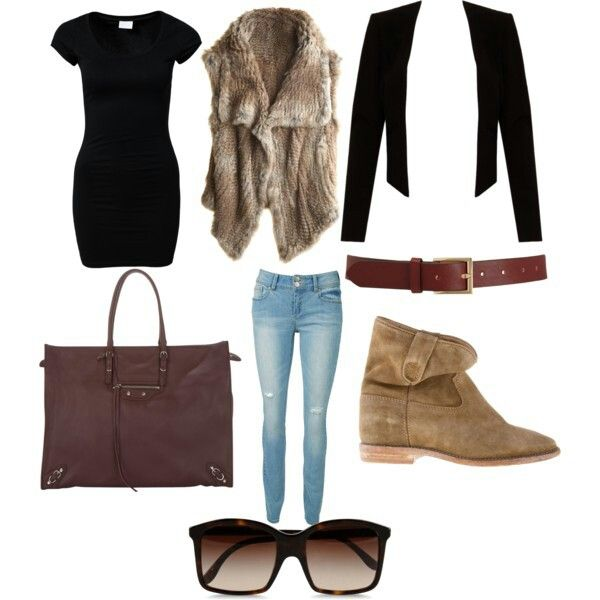 Fall sets burgundy bag fur vest boots sunglasses