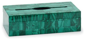 Semiprecious Stone Oblong Tissue Box, Malachite modern-tissue-box-holders