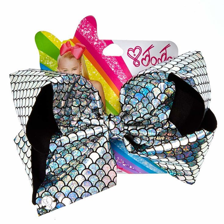 JoJo Siwa Silver Holographic Mermaid Signature Hair Bow
