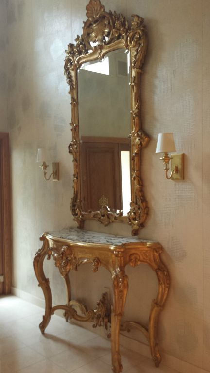 Italian Gilt Decorated Console Table Amp Mirror Decor