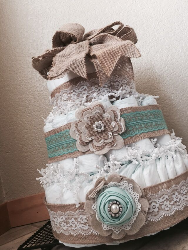 Teal and burlap diaper cake!