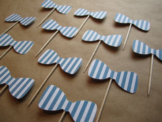 **can make out of fondant and put on top******12 Bow Tie Cupcake Toppers  Seersucker by cmooreof10 on Etsy, $5.50