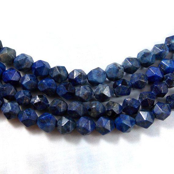 Lapis Lazuli Gemstone Faceted Nugget Beads 6 by redartproductions
