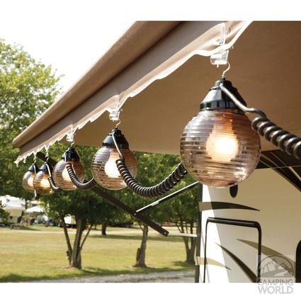 Decorate your RV awning with globe lights! Patio lights make any RV feel just like your home away from home.