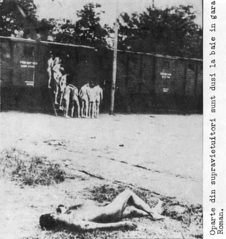 Roman, Romania, Naked men disembarking from a train close to where a corpse was left on the ground after the Jassy pogrom.