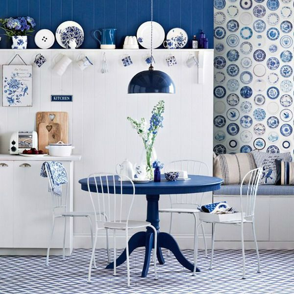 Kitchens: White And Blue Kitchen With Navy Blue Round Dining Table Also  White Wire Dining Chairs Plus Navy Blue Pendant Light And Diamond Patterned  Rug