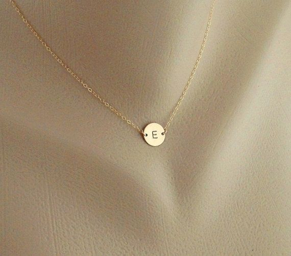 Monogram Necklace, GOLD Initial Disc Charm, Bridesmaid Gift Idea. Plan your wedding with: https://itunes.apple.com/us/app/pro-wedding-planner-ceremony/id537028989?mt=8