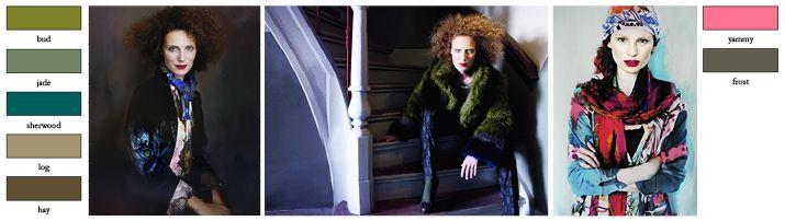 DIDI | Bohemian mix ♥ Dit thema is geïnspireerd op het Italiaanse mode-icoon Anna Piaggi. Haar extravagante en kleurrijke stijl is zeker terug te vinden in Bohemian mix! De kleurkaart is een variatie aan groenen, van donkergroen tot felle groen, met felroze als accent. Een grote diversiteit aan materialen als crochet, breisels, jerseys, voile's en gecoate katoen. Naast Artistieke grappige schilderij prints, zijn er ook grote excentrieke bloemenprints.