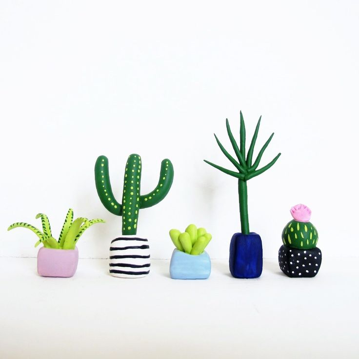 Cactus clay figurines | Polymer clay, ceramic & others ...