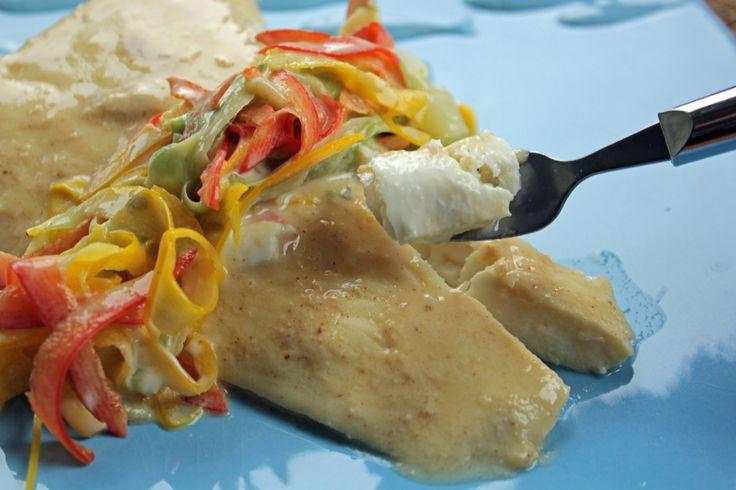 Tarragon Lemon Mustard Poached Halibut with Veggie Ribbons (low ...