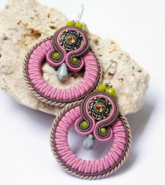 Soutache jewelry earrings.Handmade jewelry by beadsbyPanka on Etsy, Ft8900.00
