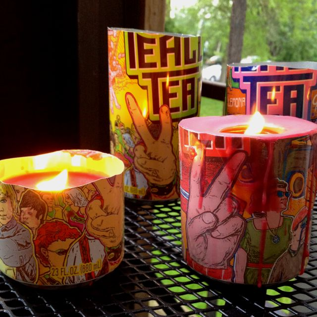 My DIY candles made from peace tea cans!