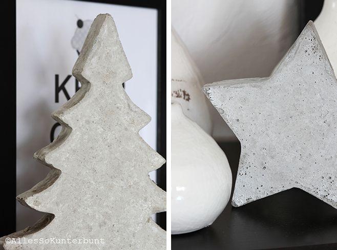 Tannenbaum und Stern aus Beton | Selbst gemacht  Concrete Stars and Christmas Tree | DIY
