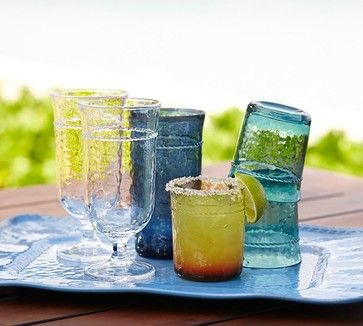 Rope Outdoor Drinkware, Colored, Set of 4 - contemporary - Everyday Glassware - Pottery Barn