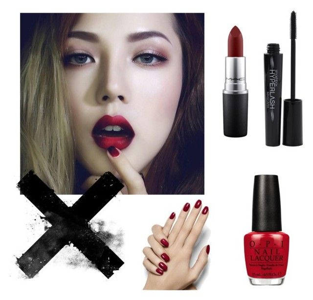 """""""Beauty in red"""" by pieceofcakehj on Polyvore featuring beauty, MAC Cosmetics, Smashbox and OPI"""