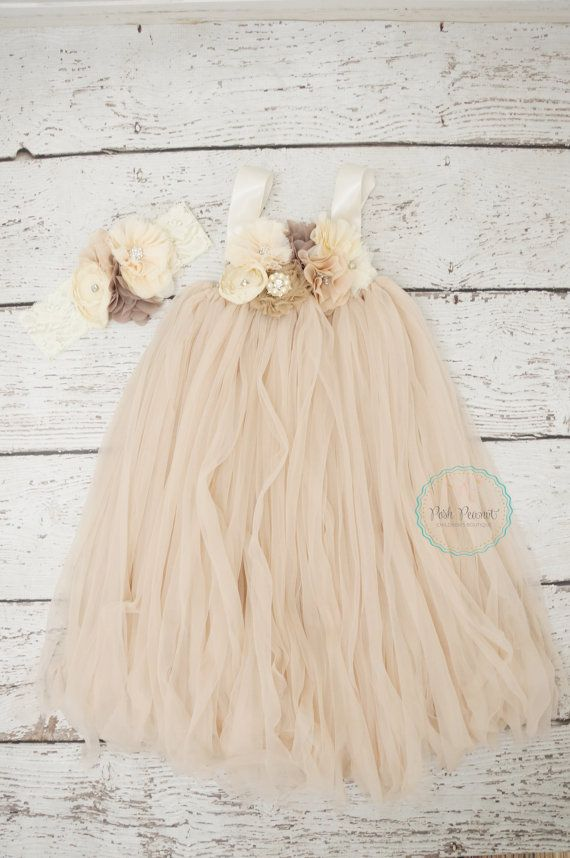 Champagne Rustic Dress Perfect to wear to a country wedding as flower girl or just as a posh guest. Listing includes dress and matching headband. {Also available in ivory} https://www.etsy.com/listing/193414919/ivory-tutu-dress-flower-girl-dress-ivory?ref=shop_home_feat_4  Crochet tube top is made with hand tied strips of chiffon fabric . Embellished with ivory, champagne, and cream shabby flowers. Adorned with pearls and rhinestones on flowers. This dress is sure to be a show stopper! A NON…