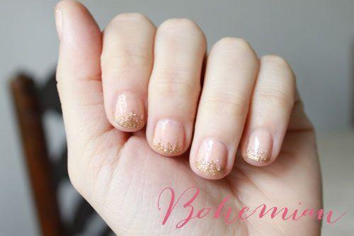 bohemian glitter and nude manicure