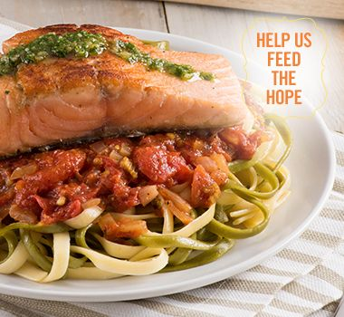 Salmon Fettuccine with Parsley Walnut Pesto | For every Facebook share or download of our Pasta to the Rescue cookbook or its recipes, we're donating portions of pasta to food banks across Canada. Visit https://www.catelli.ca/en/feed-the-hope/ to learn more.