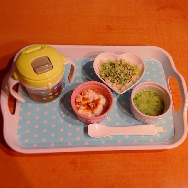 ♢ササミとブロッコリーのうどん ♢ジャガイモと青海苔のスープ ♢きな粉ヨーグルト ♢麦茶 - 8件のもぐもぐ - 離乳食 by はる