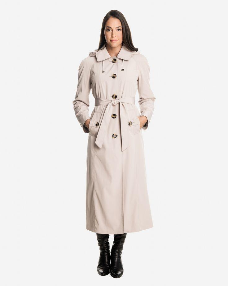 Sophia Women's Long Raincoat with Detachable Hood | London Fog