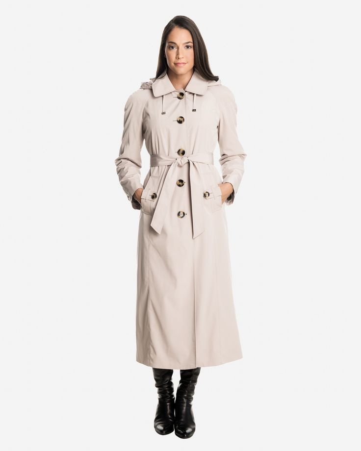 Sophia Women's Long Raincoat with Detachable Hood | London Fog