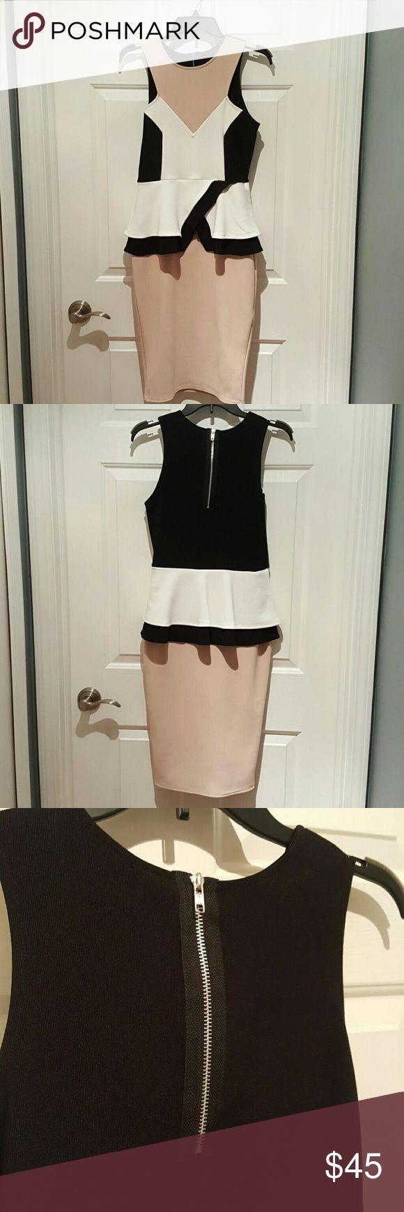 Geometric Peplum Midi Dress Black White Pinkish Taupe Peplum Dress Stretch Material Neverworn Boohoo Dresses Midi