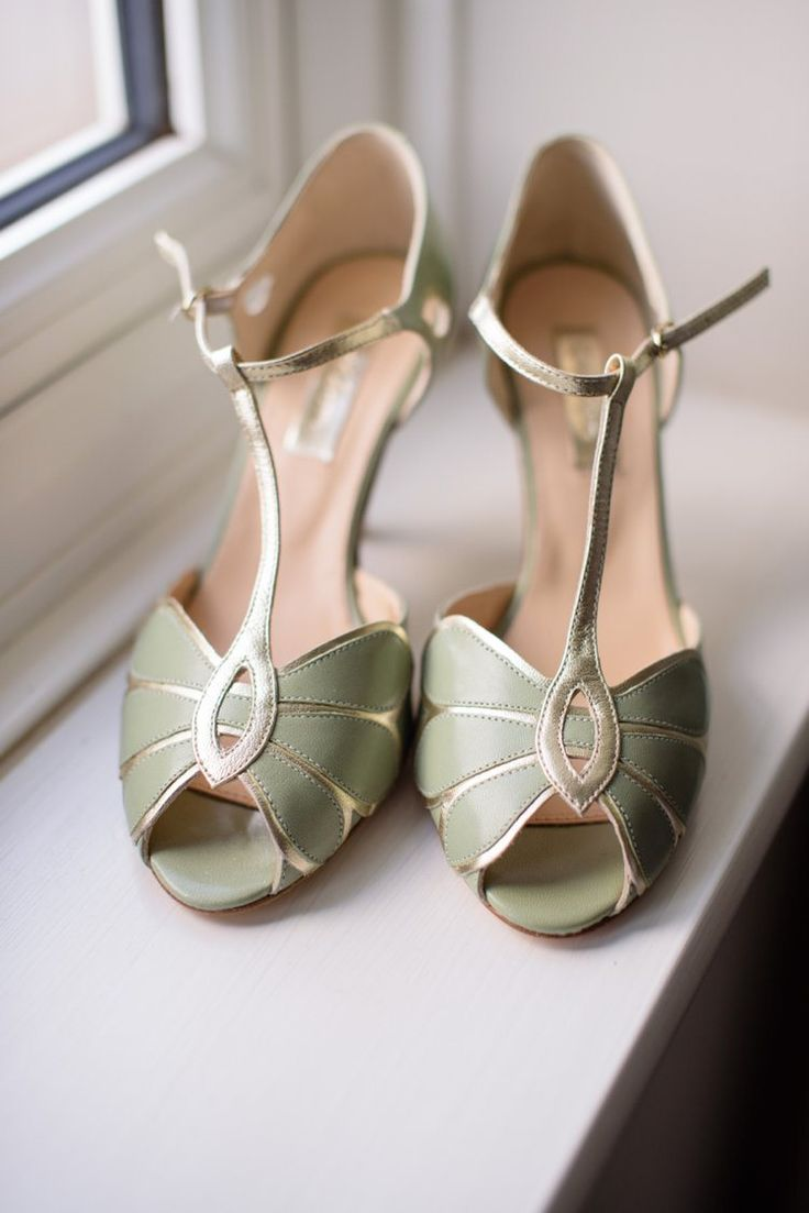 Rachel Simpson Shoes Green Gold T Bar Peep Toe Heels Bride Bridal Classic 1920s Gatsby Wedding Newland Hall http://www.fayecornhillphotography.co.uk/