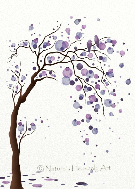 Watercolor Purple Circles Decorative Wall Art 5 x 7 Fantasy Tree Print, Modern Home Decor, Nature Print, Love Birds