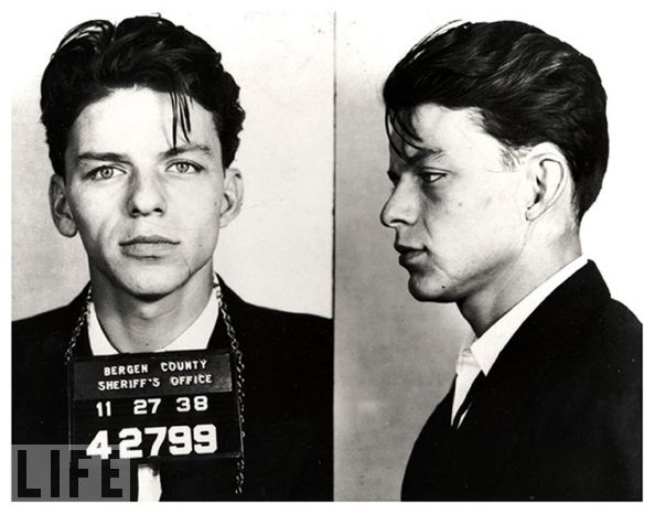 "December 12, 1915: Frank Sinatra's birthday. Here is Sinatra's mug shot, his reason for arrest? ""Carrying on with a married woman"" — a criminal offense at the time. The charge was eventually dismissed, but his reputation as a ladies' man only grew..."