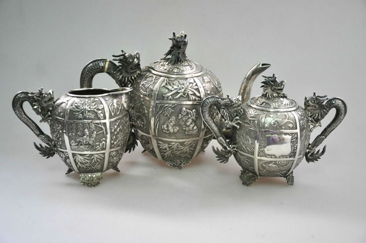 ANTIQUE CHINESE CHINA EXPORT SOLID SILVER TEA SET POT BOWL CREAMER 1850 #WO