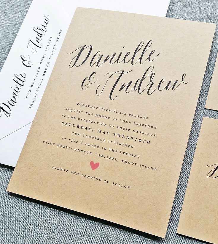 sample of wedding invitation letter%0A Danielle Rustic Wedding Invitation Sample on Recycled Kraft Card Stock with  Calligraphy Script Font  Spring  Summer Wedding Invite