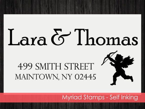 Cupid Self Inking Stamp  Custom Address by LittlePrintsStamps