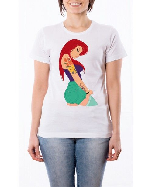 T Shirt Principesse Tatuate - Ariel Punk