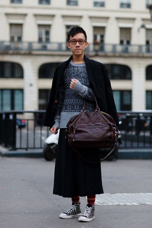 I am so happy I see men in skirts more often. via The Sartorialist.