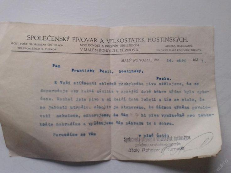 Pivovar Malý Rohozec -stížnost pochybné pivo 1921 (6318500576) - Aukro - největší obchodní portál