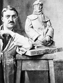 Jan Štursa (May 15, 1880 in Nové Město na Moravě – May 2, 1925 in Prague, suicide) was a one of founders of modern Czech sculpture. He studied at the AVU under professor Josef Myslbek,. As a result of his criticism Štursa destroyed most of his early works. He was not influenced by Czech National Revival but tried to find his own way. The female body was his frequent motif. A monumental couple of figures decorates the pylons of Hlávka Bridge in Prague. Later, he was influenced by cubism.